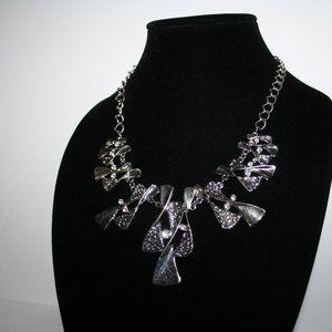 Vintagejelyfish Jewelry - Silver bib rhinestone necklace adjustable